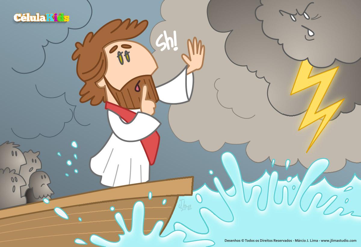 Jesus Acalma a Tempestade - Desenho para Crianças Colorir
